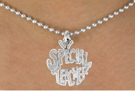 """<bR>               EXCLUSIVELY OURS!!<BR>CLICK HERE TO SEE 120+ EXCITING<BR>   CHANGES THAT YOU CAN MAKE!<BR>              LEAD & NICKEL FREE!!<BR>     W562SN - """"SPECIAL TEACHER""""<BR>   ON NECKLACE AS LOW AS $4.50"""