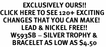 <bR>               EXCLUSIVELY OURS!!<BR>CLICK HERE TO SEE 120+ EXCITING<BR>  CHANGES THAT YOU CAN MAKE!<BR>              LEAD & NICKEL FREE!!<BR>       W593SB - SILVER TROPHY &<Br>        BRACELET AS LOW AS $4.50