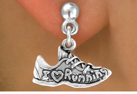 "<bR>                EXCLUSIVELY OURS!!<BR>  CLICK HERE TO SEE 65+ EXCITING<BR>   CHANGES THAT YOU CAN MAKE!<BR>               LEAD & NICKEL FREE!!<BR>W219SE - ""I LOVE RUNNING"" SHOE<Br>       & EARRING FROM $4.50 TO $8.35"