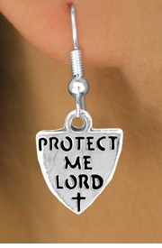 "<bR>             EXCLUSIVELY OURS!!<BR>CLICK HERE TO SEE 65+ EXCITING<BR> CHANGES THAT YOU CAN MAKE!<BR>            LEAD & NICKEL FREE!!<BR>   W257SE - ""PROTECT ME LORD""<Br>              SHIELD & EARRINGS<Br>              FROM $4.50 TO $8.35"