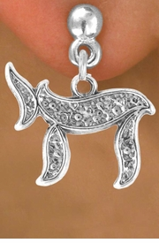 "<bR>                 EXCLUSIVELY OURS!!<BR>  CLICK HERE TO SEE 65+ EXCITING<BR>    CHANGES THAT YOU CAN MAKE!<BR>                LEAD & NICKEL FREE!!<BR> W363SE - JEWISH ""CHAI"" SYMBOL<Br>    & EARRING FROM $4.50 TO $8.35"