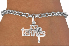 "<bR>              EXCLUSIVELY OURS!!<BR>CLICK HERE TO SEE 65+ EXCITING<BR>  CHANGES THAT YOU CAN MAKE!<BR>             LEAD & NICKEL FREE!!<BR>      W377SB - ""I LOVE TENNIS"" &<BR>       BRACELET AS LOW AS $4.50"