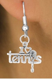"<bR>             EXCLUSIVELY OURS!!<BR>CLICK HERE TO SEE 65+ EXCITING<BR> CHANGES THAT YOU CAN MAKE!<BR>             LEAD & NICKEL FREE!!<BR>     W377SE - ""I LOVE TENNIS"" &<Br>        EARRING FROM $4.50 TO $8.35"