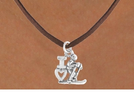 "<bR>             EXCLUSIVELY OURS!!<BR>CLICK HERE TO SEE 65+ EXCITING<BR> CHANGES THAT YOU CAN MAKE!<BR>            LEAD & NICKEL FREE!!<BR>    W396SN - ""I LOVE SKIING"" &<Br>      NECKLACE AS LOW AS $4.50"
