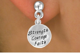 "<bR>             EXCLUSIVELY OURS!!<BR>CLICK HERE TO SEE 65+ EXCITING<BR> CHANGES THAT YOU CAN MAKE!<BR>            LEAD & NICKEL FREE!!<BR>W421SE - ""STRENGTH COURAGE<Br>       FAITH"" CIRCLE & EARRING<Br>                  FROM $4.50 TO $8.35"