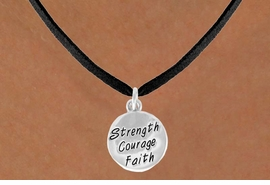 "<bR>             EXCLUSIVELY OURS!!<BR>CLICK HERE TO SEE 65+ EXCITING<BR> CHANGES THAT YOU CAN MAKE!<BR>            LEAD & NICKEL FREE!!<BR>W421SN - ""STRENGTH COURAGE<Br>      FAITH"" CIRCLE & NECKLACE<Br>                 AS LOW AS $4.50"