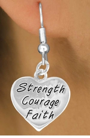 "<bR>             EXCLUSIVELY OURS!!<BR>CLICK HERE TO SEE 65+ EXCITING<BR> CHANGES THAT YOU CAN MAKE!<BR>            LEAD & NICKEL FREE!!<BR>W423SE - ""STRENGTH COURAGE<Br>       FAITH"" HEART & EARRING<Br>            FROM $4.50 TO $8.35"