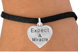 "<bR>                EXCLUSIVELY OURS!!<BR>   CLICK HERE TO SEE 65+ EXCITING<BR>    CHANGES THAT YOU CAN MAKE!<BR>               LEAD & NICKEL FREE!!<BR>     W425SB - ""EXPECT A MIRACLE""<br>HEART & BRACELET AS LOW AS $4.50"