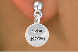 "<bR>             EXCLUSIVELY OURS!!<BR>CLICK HERE TO SEE 65+ EXCITING<BR> CHANGES THAT YOU CAN MAKE!<BR>            LEAD & NICKEL FREE!!<BR>W428SE - ""I AM STRONG"" CIRCLE<Br>    & EARRINGS FROM $4.50 TO $8.35"