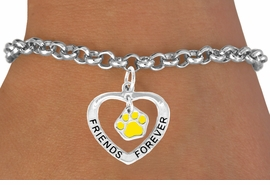 "<bR>                EXCLUSIVELY OURS!!<BR>   CLICK HERE TO SEE 65+ EXCITING<BR>    CHANGES THAT YOU CAN MAKE!<BR>               LEAD & NICKEL FREE!!<BR>     W452SB - ""FRIENDS FOREVER""<BR>YELLOW PAW & HEART ON BRACELET<Br>                     AS LOW AS $5.90"