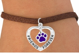 "<bR>                EXCLUSIVELY OURS!!<BR>   CLICK HERE TO SEE 65+ EXCITING<BR>    CHANGES THAT YOU CAN MAKE!<BR>               LEAD & NICKEL FREE!!<BR>     W454SB - ""FRIENDS FOREVER""<BR>PURPLE PAW & HEART ON BRACELET<Br>                     AS LOW AS $5.90"