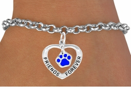"<bR>             EXCLUSIVELY OURS!!<BR>CLICK HERE TO SEE 65+ EXCITING<BR> CHANGES THAT YOU CAN MAKE!<BR>            LEAD & NICKEL FREE!!<BR>  W456SB - ""FRIENDS FOREVER""<BR>BLUE PAW & HEART ON BRACELET<Br>                  AS LOW AS $5.90"