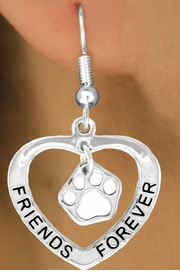 "<bR>               EXCLUSIVELY OURS!!<BR> CLICK HERE TO SEE 65+ EXCITING<BR>  CHANGES THAT YOU CAN MAKE!<BR>              LEAD & NICKEL FREE!!<BR>    W458SE - ""FRIENDS FOREVER""<Br>WHITE PAW & HEART ON EARRINGS<Br>                    FROM $5.25 TO $12.50"