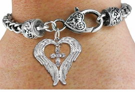 <bR>               EXCLUSIVELY OURS!! <BR>             LEAD & NICKEL FREE!! <BR> CHRISTIAN THEMED CHARM BRACELET! <BR>  W20261B - GUARDIAN ANGEL WINGS <Br>   WITH SILVER TONE SCRIPT CROSS <BR>    CHARM & HEART CLASP BRACELET <BR>      FROM $6.19 TO $13.75 �2013