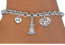 "<bR>                EXCLUSIVELY OURS!!<Br>               LEAD & NICKEL FREE!!<BR>W19823B - QUINCEAÑERA 15 THEMED <Br>SILVER TONE CHARM BRACELET WITH <BR>""SIS"" HEART, QUINCEANERA GIRL AND <BR>ANTIQUED SCRIPT HEART CHARMS <BR>               FROM $4.16 TO $9.25"