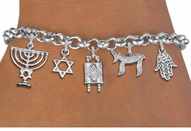 <bR>                EXCLUSIVELY OURS!!<Br>               LEAD & NICKEL FREE!!<BR>    W19888B - CHANUKAH THEMED <Br>SILVER TONE CHARM BRACELET WITH <BR>JEWISH MENORAH AND TORAH SCROLLS <BR>  WITH OTHER SILVER TONE CHARMS <BR>               FROM $6.19 TO $13.75