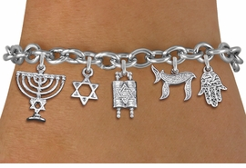 <bR>                EXCLUSIVELY OURS!!<Br>               LEAD & NICKEL FREE!!<BR>    W19889B - CHANUKAH THEMED <Br>SILVER TONE CHARM BRACELET WITH <BR>JEWISH MENORAH AND TORAH SCROLLS <BR>  WITH OTHER SILVER TONE CHARMS <BR>               FROM $6.19 TO $13.75
