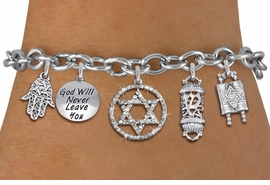 <bR>                EXCLUSIVELY OURS!!<Br>               LEAD & NICKEL FREE!!<BR> W19893B - JEWISH HERITAGE THEMED <Br>SILVER TONE CHARM BRACELET WITH <BR>CRYSTAL STAR OF DAVID IN CIRCLE CHARM <BR>  WITH JEWISH SILVER TONE CHARMS <BR>               FROM $7.31 TO $16.25