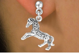 "<bR>                   EXCLUSIVELY OURS!!<Br>                  LEAD & NICKEL FREE!!<BR>   W247SE - ""I LOVE HORSES"" HORSE<Br>CHARM & EARRINGS FROM $4.50 TO $8.35"