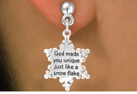 "<bR>                 EXCLUSIVELY OURS!!<Br>                LEAD & NICKEL FREE!!<BR>W258SE - ""GOD MADE YOU UNIQUE""<Br>   SNOWFLAKE CHARM & EARRINGS<Br>               FROM $4.50 TO $8.35"