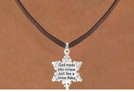 "<bR>                  EXCLUSIVELY OURS!!<Br>                 LEAD & NICKEL FREE!!<BR>W258SN - ""GOD MADE YOU UNIQUE""<Br>   SNOWFLAKE CHARM & NECKLACE<Br>                FROM $4.50 TO $8.35"