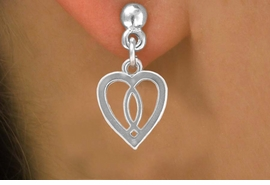 <bR>          EXCLUSIVELY OURS!!<Br>         LEAD & NICKEL FREE!!<BR>W259SE - HEART & CHRISTIAN<Br>     FISH CHARM & EARRINGS<Br>          FROM $4.50 TO $8.35