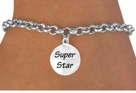 "<bR>          EXCLUSIVELY OURS!!<Br>         LEAD & NICKEL FREE!!<BR>W271SB - ""SUPER STAR"" DISC<BR>& BRACELET AS LOW AS $4.50"