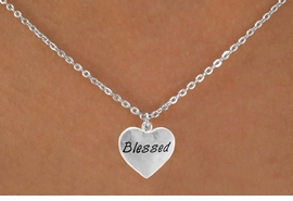 "<bR>             EXCLUSIVELY OURS!!<Br>            LEAD & NICKEL FREE!!<BR>  W272SN - ""BLESSED"" HEART &<br>& NECKLACE FROM $4.50 TO $8.35"