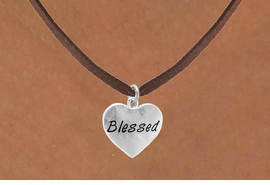 "<bR>           EXCLUSIVELY OURS!!<Br>          LEAD & NICKEL FREE!!<BR>W272SN - ""BLESSED"" HEART &<br> NECKLACE FROM $4.50 TO $8.35"