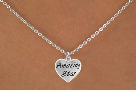 "<bR>                   EXCLUSIVELY OURS!!<Br>                  LEAD & NICKEL FREE!!<BR>   W297SN - ""AMAZING STAR"" HEART<br>CHARM & NECKLACE AS LOW AS $4.50"