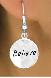 "<bR>            EXCLUSIVELY OURS!!<Br>           LEAD & NICKEL FREE!!<BR>    W310SE - ""BELIEVE"" CIRCLE<Br>& EARRINGS FROM $4.50 TO $8.35"