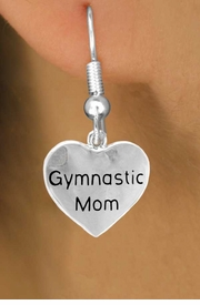 "<bR>          EXCLUSIVELY OURS!!<Br>         LEAD & NICKEL FREE!!<BR>W315SE - ""GYMNASTIC MOM""<Br>     HEART CHARM EARRINGS  <br>       AS LOW AS $3.25"