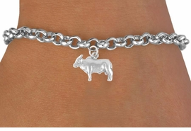 <bR>              EXCLUSIVELY OURS!!<Br>             LEAD & NICKEL FREE!!<BR>W321SB - BRAHMA BULL CHARM<Br>    & BRACELET AS LOW AS $4.50
