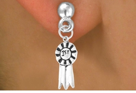 "<bR>          EXCLUSIVELY OURS!!<Br>         LEAD & NICKEL FREE!!<BR>     W332SE - ""1ST"" RIBBON<Br>& EARRINGS FROM $4.50 TO $8.35"
