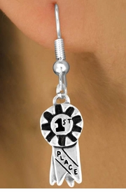 "<bR>             EXCLUSIVELY OURS!!<Br>            LEAD & NICKEL FREE!!<BR>W333SE - ""1ST PLACE"" RIBBON<Br>  & EARRINGS FROM $4.50 TO $8.35"