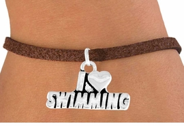 "<bR>            EXCLUSIVELY OURS!!<Br>           LEAD & NICKEL FREE!!<BR>W336SB - ""I LOVE SWIMMING""<Br>    BRACELET AS LOW AS $4.50"