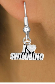 "<bR>          EXCLUSIVELY OURS!!<Br>         LEAD & NICKEL FREE!!<BR>W336SE - ""I LOVE SWIMMING""<Br>   EARRINGS FROM $4.50 TO $8.35"