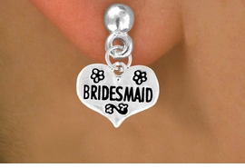 "<bR>              EXCLUSIVELY OURS!!<Br>             LEAD & NICKEL FREE!!<BR>W343SE - ""BRIDESMAID"" HEART<Br> & EARRINGS FROM $4.50 TO $8.35"