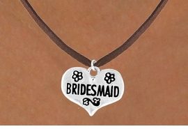 "<bR>             EXCLUSIVELY OURS!!<Br>            LEAD & NICKEL FREE!!<BR>  W343SN - ""BRIDESMAID"" HEART<br> & NECKLACE FROM $4.50 TO $8.35"