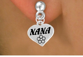 "<bR>        EXCLUSIVELY OURS!!<Br>       LEAD & NICKEL FREE!!<BR>    W344SE - ""NANA"" HEART &<Br>EARRINGS FROM $4.50 TO $8.35"