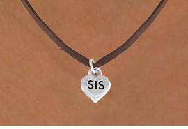"<bR>        EXCLUSIVELY OURS!!<Br>       LEAD & NICKEL FREE!!<BR>  W345SN - ""SIS"" HEART &<br>NECKLACE FROM $4.50 TO $8.35"