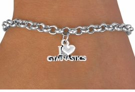 "<bR>             EXCLUSIVELY OURS!!<Br>            LEAD & NICKEL FREE!!<BR>W355SB - ""I LOVE GYMNASTICS""<Br>           CHARM AND BRACELET <br>       AS LOW AS $3.25"