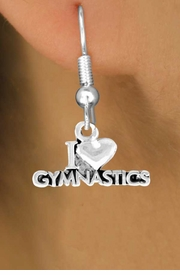 "<bR>              EXCLUSIVELY OURS!!<Br>             LEAD & NICKEL FREE!!<BR>W355SE - ""I LOVE GYMNASTICS""<Br>              CHARM EARRINGS  <br>       AS LOW AS $3.25"