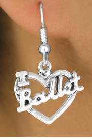 "<bR> EXCLUSIVELY OURS!!<BR> LEAD & NICKEL FREE!!<BR> W412SE - ""I LOVE BALLET"" <Br> CHARM EARRING FOR $3.25"