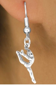 <bR>             EXCLUSIVELY OURS!! <BR>             LEAD & NICKEL FREE!! <BR> W417SE - GYMNAST  EARRINGS  <br>       AS LOW AS $3.25