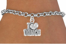 """<bR>          EXCLUSIVELY OURS!! <BR>         LEAD & NICKEL FREE!!<BR> W533SB - """"I LOVE DANCE"""" &<Br>  BRACELET FOR $3.25"""