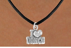 """<bR> EXCLUSIVELY OURS!!<BR> LEAD & NICKEL FREE!!<BR> W533SN - """"I LOVE DANCE"""" <BR> CHARM NECKLACE FOR $3.65"""