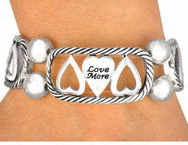 <BR>                EXCLUSIVELY OURS!!<br>           LOVE MORE, LAUGH OFTEN, <BR>               HAVE PEACE, LIVE WELL <BR>W9729B - POLISHED SILVER FINISH<br>     INSPIRATIONAL PHRASE HEART<Br>          STRETCH BRACELET FROM<BR>                      $6.19 TO $13.75