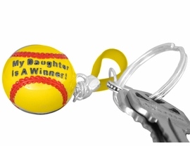 "<BR>             EXCLUSIVELY OURS!!!<BR>W10682KC - ""MY DAUGHTER IS<BR>   A WINNER!"" GIRLS' SOFTBALL<br>    KEY CHAIN AS LOW AS $1.99"