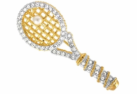 <bR>                EXCLUSIVELY OURS!!!<bR>W10684P - BEAUTIFUL GOLD FINISH<Br>   AUSTRIAN CRYSTAL TRIM & FAUX<br>          PEARL TENNIS RACKET PIN<Br>               FROM $7.31 TO $16.25